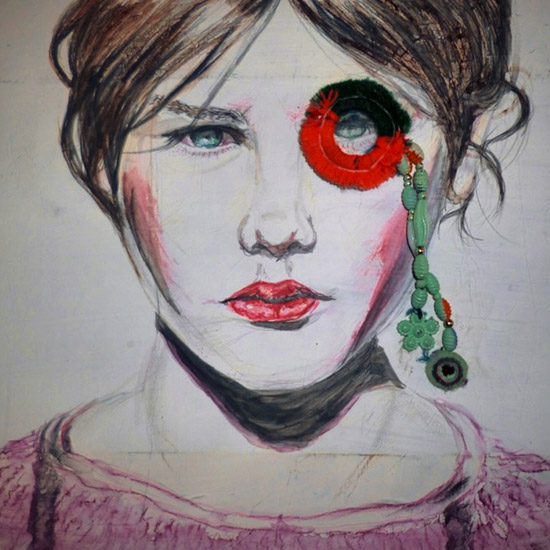 A mixed media portrait of a woman with a monocle