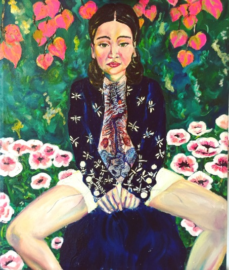Isabelle contemplating her blood vessels in a field of poppies 54x64 cm £590