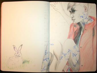 purple rabbit drawing