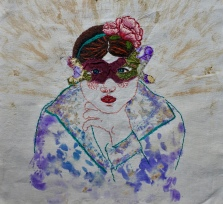 Vinca flower print and embroidery 30x30cm $371 2018