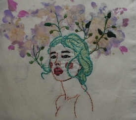 Wild Cosmos (cosmos bipinnatus) embroidery and flower print 23.7x22.7cm 2017 $287