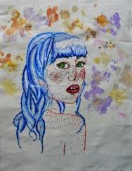 Purple Phacelia (Phacelia tanacetifolia) Embroidery and Flower Print 20.9x28,5cm 2018 $306