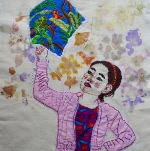 Yellow Allamanda (Alamanda Cathartica) Embroidery and flower print 34.2x39.5cm 2018 $456