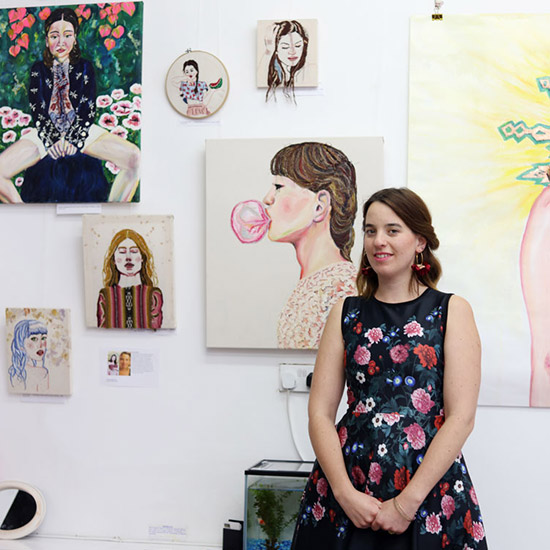 Surya de Wit at her 2018 exhibition at the Elizabeth James Gallery