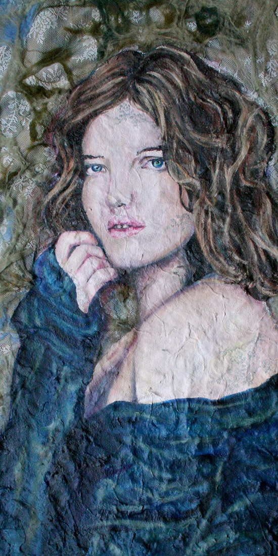 A Oil Portrait of a woman staring off into the middle distance on a felt background