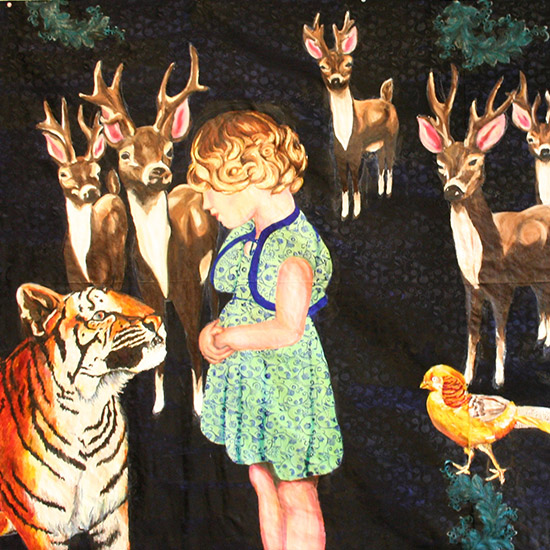 A woodland scene of negotiations between a young girl and a tiger